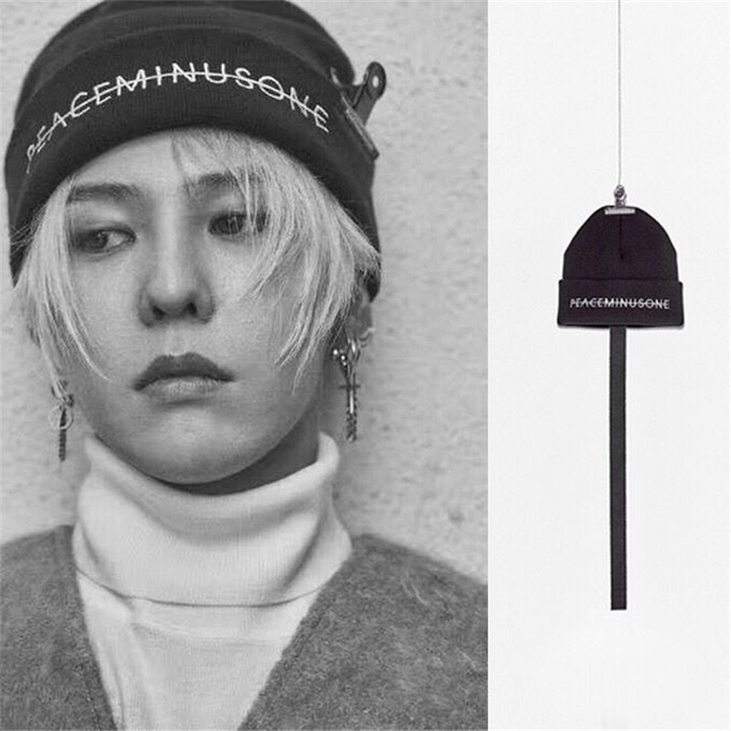 Kpop BIGBANG GD Wool Hat Top Quality G Dragon Same Black Knitted Embroidery Elastic Autumn Winter Warm Hat Cap