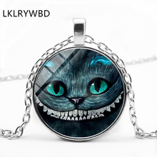LKLRYWBD / Alice In Wonderland Cat Time Gem Ear Pendant Glass Necklace Jewelry