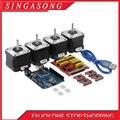 4-свинцовый Nema17 шаговый двигатель 42 мотор + щит с ЧПУ v3 гравировальный станок 3D принтер + 4 шт. A4988 Плата расширения драйвера UNO R3
