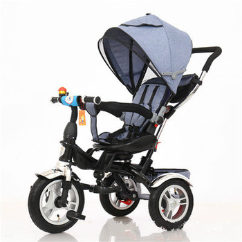 цена Baby Stroller 3 In 1 Portable Baby Tricycle Children Tricycle Bike Bicycle Sit Flat Lying Trike Trolley Swivel Seat онлайн в 2017 году