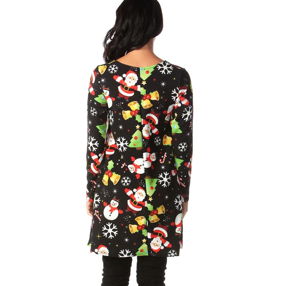 Print Long Sleeve Autumn Winter Christmas Dress Women 19 Casual Loose Short Party Dress Plus Size S-5XL Vestidos 27