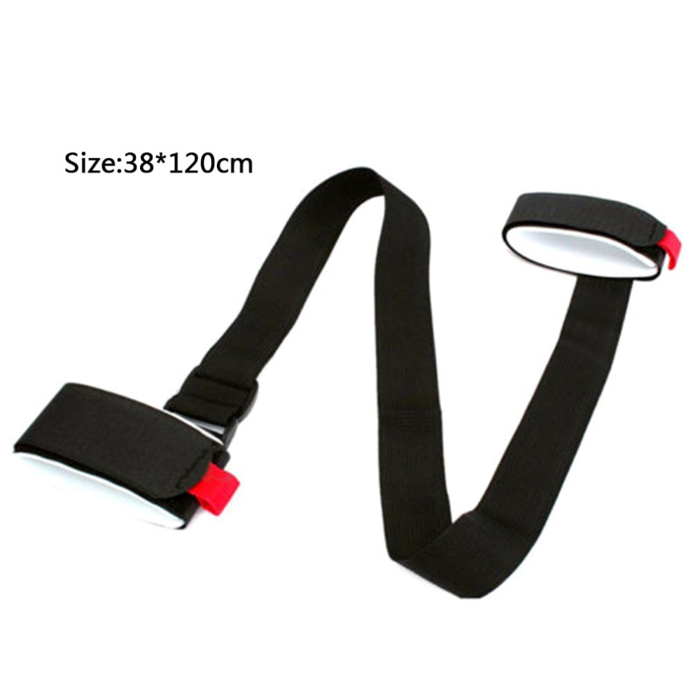 Купить с кэшбэком Adjustable Skiing Pole Shoulder Hand Carrier Lash Handle Straps Porter Hook Loop Protecting Black Nylon Ski Handle Strap Bags