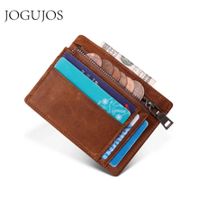 JOGUJOS Genuine Leather Men Credit ID Card Holder RFID Coin Purse Card Holder Wallet Money Case Men Small Wallet Male Portomonee game tom clancy s the division color printing men long wallet pu leather money coin purse male pocket card holder passport case