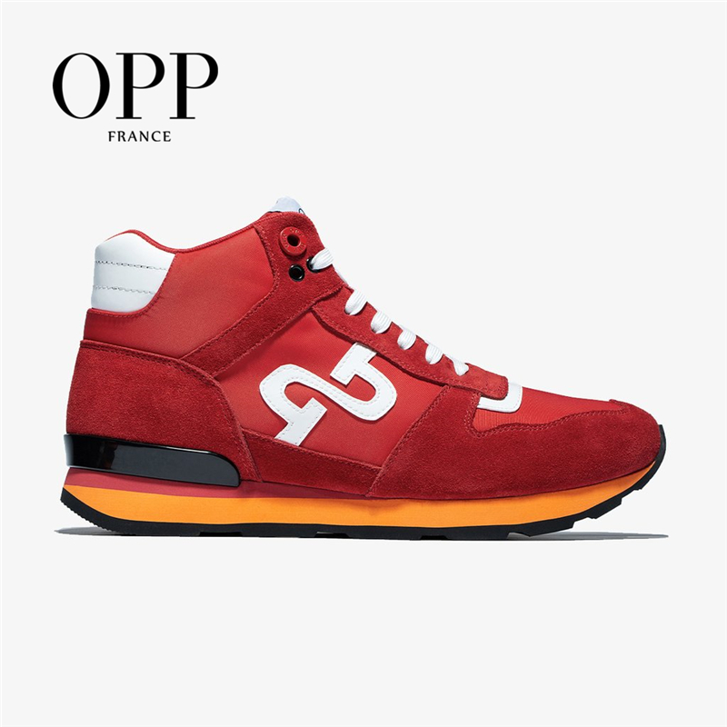 OPP Men's Shoes High-top Shoes Leather Sports Street Boots Men's Causal British Fashion Wear Lace-up Sneakers