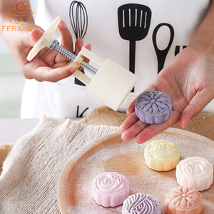 FEBWIND Plastic Mooncake Mold 100g/50g Cookie Cutter with Cookie Stamp Chocolate Moon cake Mould Moon Cake Mold/Press Cookie 371