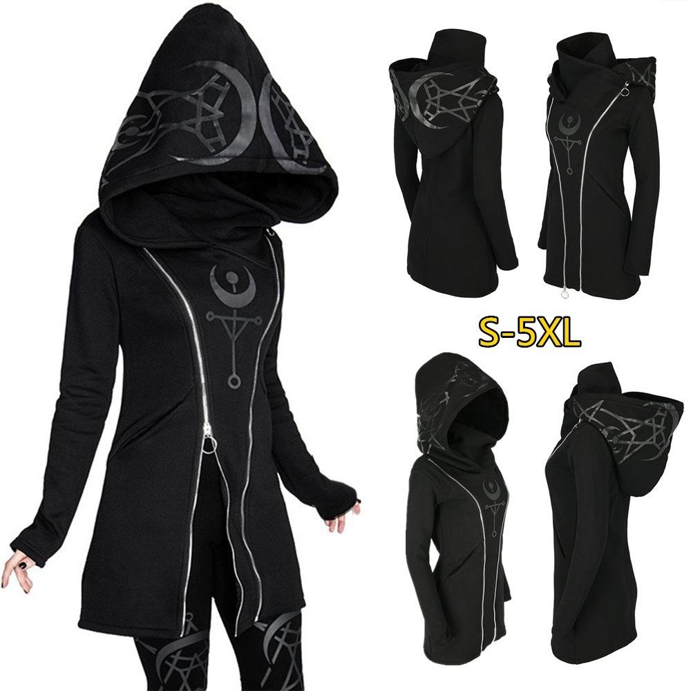 2020 Women's Punk Style Print Long Sleeve Hooded Double Zipper Hoodies Long Black Hoodie