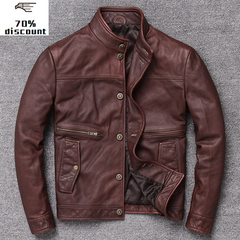 ¡Novedad de 2020! chaqueta de cuero auténtico para hombre, chaqueta de piel...