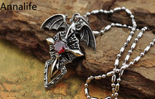 2019 New Punk Vintage Silver Cross Skeleton Necklace Personality Gothic Red Zircon Pendant Necklace Women Men Jewelry(China)