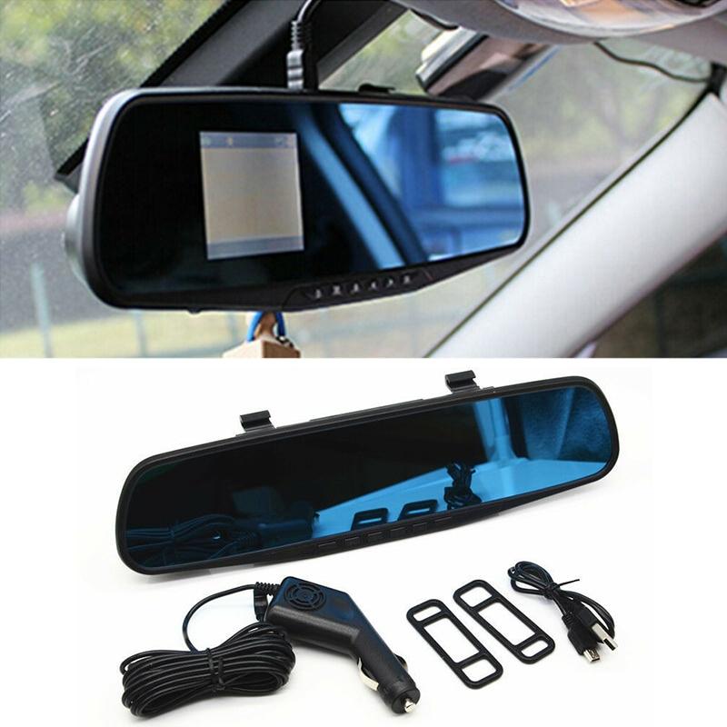 2,4 Автомобильный видеорегистратор, Автомобильный видеорегистратор, зеркало заднего вида для автомобиля, DVR, автомобильные линзы с ЖК-диспле...
