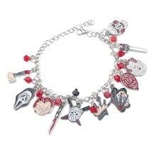 K895 Horror Movie Black Friday Bracelet Chucky Face Stephen Kings IT Charm Halloween Bracelets Jewelry Gifts