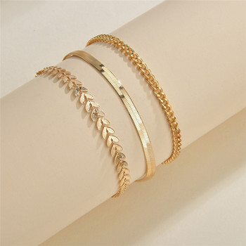 LETAPI 3pcs/set Gold Color Simple Chain Anklets For Women Beach Foot Jewelry Leg Chain Ankle Bracelets Women Accessories 2