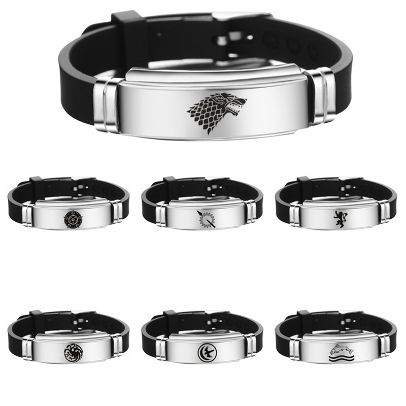 Game of Thrones Bracelet Cosplay Jewelry Accessories Prop Metal Family Badge A Song of Ice and Fire Man Women Adjustable image