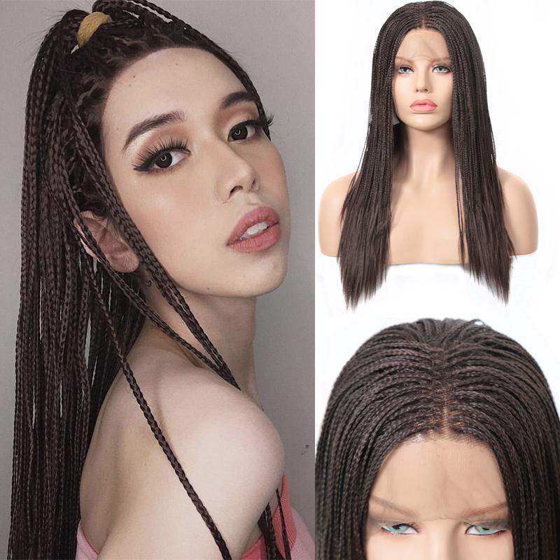 Charisma Natural Brown Wigs Heat Resistant Hair Synthetic Lace Front Wig Box Braids Wig Middle Part Braided Wigs for Women