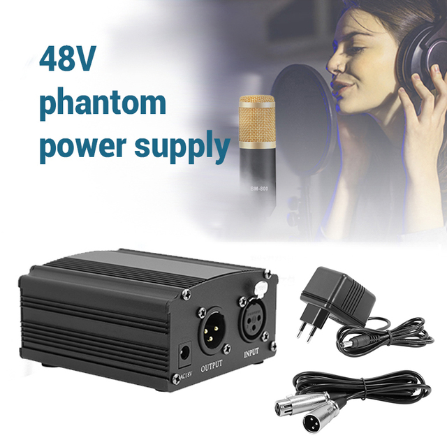48V 팬텀 전원 BM 800 콘덴서 마이크 스튜디오 녹음 가라오케 공급 장비 EU 플러그 오디오 어댑터 DC 전원