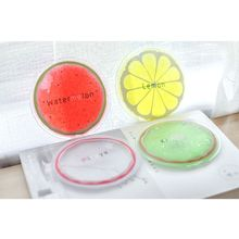 Summer Portable Mini Physiotherapy PVC Cooler Bag Cute Cartoon Round Shape Bright Colored Fruit Cold Compress Ice Pack Gel 667D