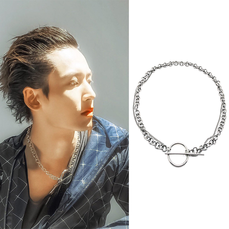 Fashion Jewelry double-deck circle Titanium steel Necklace Ot buckle personality Hip hop men and women Jewelry Making