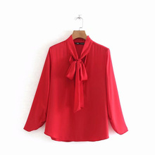 Red Business Shirt Women Full Sleeve Slim Wlid Female Lace up Shirts Spring Fashion Ladies Long Tops Thin Coat