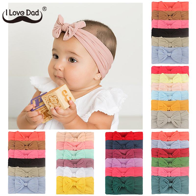 3/4/5/6Pcs/set Cute Bowknot Baby Headband Turban Solid Color Newborn Baby Girls Elastic Hair Bands Soft Nylon Hair Accessories