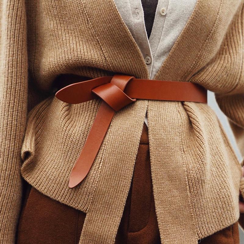 CETIRI High Quality Top Grain Genuine Leather Belt Fashion Female Decoration Dress Sweater Plaid Coat Waist Belt