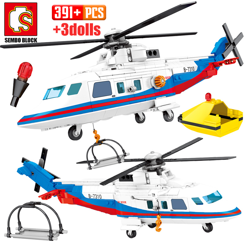391pcs City Police Helicopter Model Building Blocks For Legoing Military Emergency Rescue Plane Figures Bricks Toys For Children