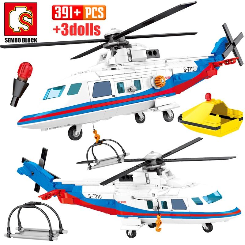 SEMBO 391pcs City Police Helicopter Model Building Blocks Military Emergency Rescue Plane Figures Bricks Toys For Children