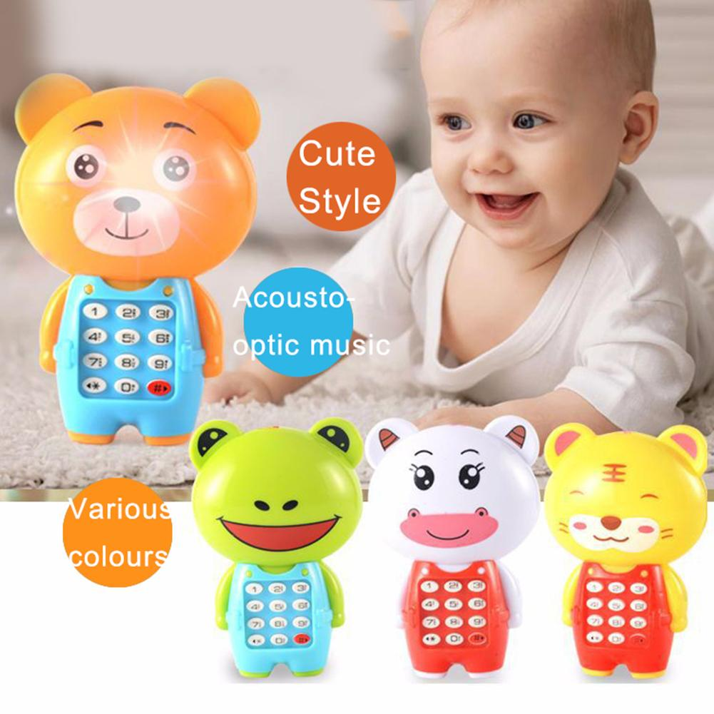 1Pcs Mini Cartoon Frog Animal LED Music Mobile Phone  Electronic Toy With Lanyard Educational Kids Children Baby Toys Gifts