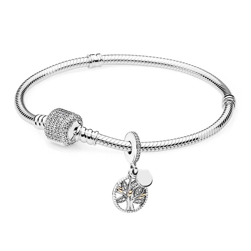 Nouveau livre Di 100% 925 argent Sterling famille héritage Bracelet ensemble fit bricolage Original bracelets porte-bonheur bijoux un ensemble de prix