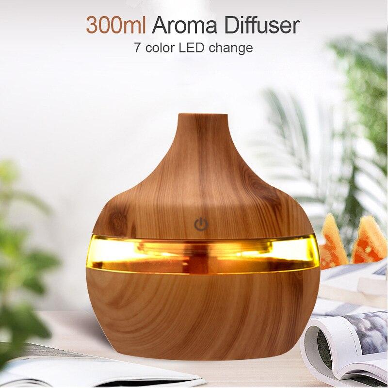 300ML USB hava nemlendirici elektrikli Aroma YAYICI sis ahşap tahıl yağı aromaterapi Mini var 7 LED ışık araba ev ofis için