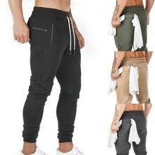 Men's Multi Pocket Sweat Pants 2 in 1 Joggers Men Track Pants Streetwear Built-in Pocket Zipper