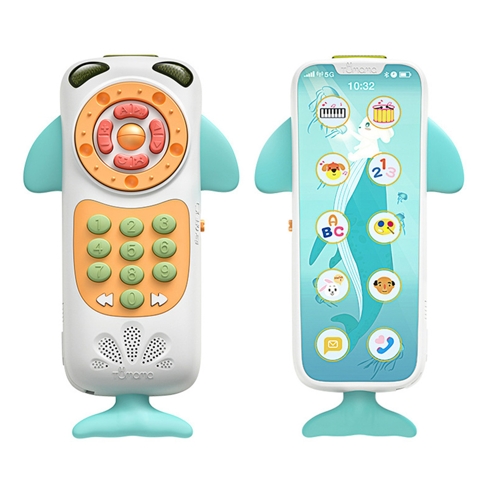 High Quality 1 Pcs Baby Cellphone Whale Shape Mobile Phone Kids Music Toys Early Educational Electric Phone Toy