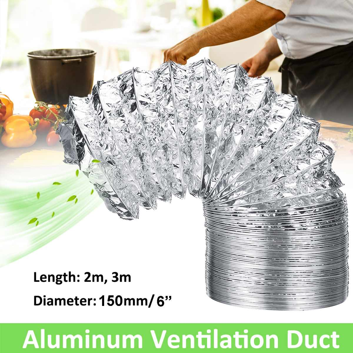 3/2 Meter 100mm 6 Inch PVC Fresh Air System Flexible Aluminum Exhaust Duct Pipe Air Ventilation Pipe Hose For Bathroom Grow Tent