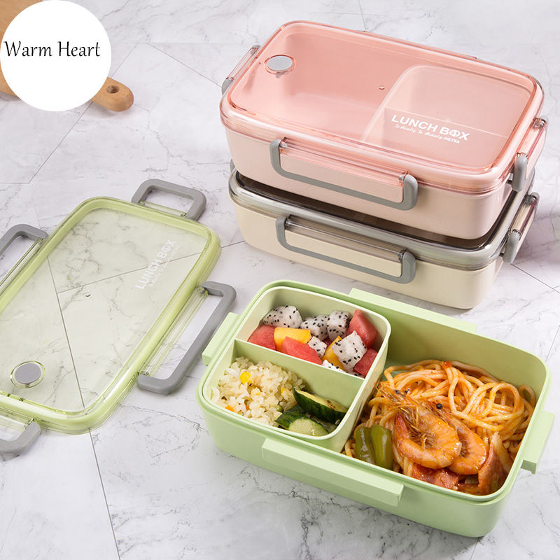 BPA Free <font><b>Lunch</b></font> <font><b>Box</b></font> Bamboo Fiber Material Eco-friendly Portable Bento <font><b>Box</b></font> Microwaveble <font><b>Food</b></font> Storage <font><b>Container</b></font> For Office Children image