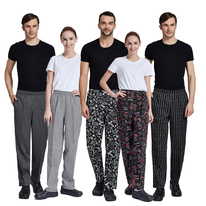 Restaurant Chef Master Man Trousers Elastic Elastic Food Service Hotel Cafe Cook Chef Trousers For Woman Waiter Harem Pants