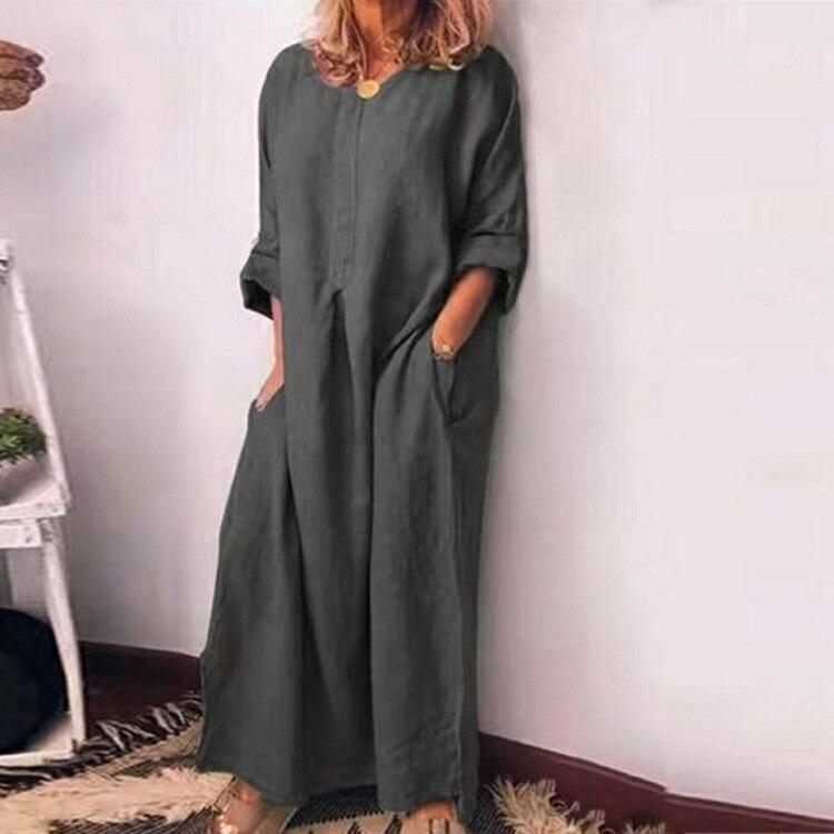 VIEUNSTA 5XL Autumn Winter Cotton Linen Dress Women Plus Size Long Sleeve Loose Maxi Dress Sexy O Neck Solid Party Dress Vestido