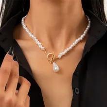 Pendant Necklace Jewelry Pearl Chain Imitation-Pearls Bohemian-Teardrop-Shaped Lacteo