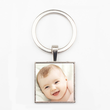 Hot hand-made personality logo text family photo square pendant key ring baby parents portrait chain private custom