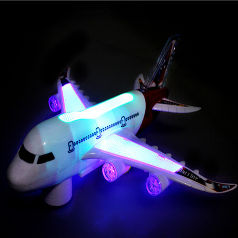 Kids Glider Plane Toys Electric Music Light Automatic Steering Plane Passenger Airplane Aircraft Model Toy Kid Outdoor Toy Games