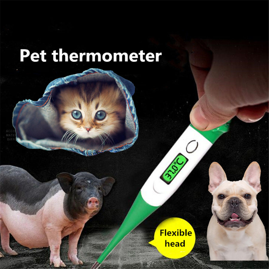 1pc Pet Digital Lcd Thermometer Cartoons Veterinary Body Thermometer Waterproof For Dogs Horse Cats Pigs Sheep