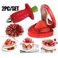 Кухонный гаджет для фруктов, инструменты 2 шт./компл., слайсер для клубники, клубничный корер, устройство для удаления ягод