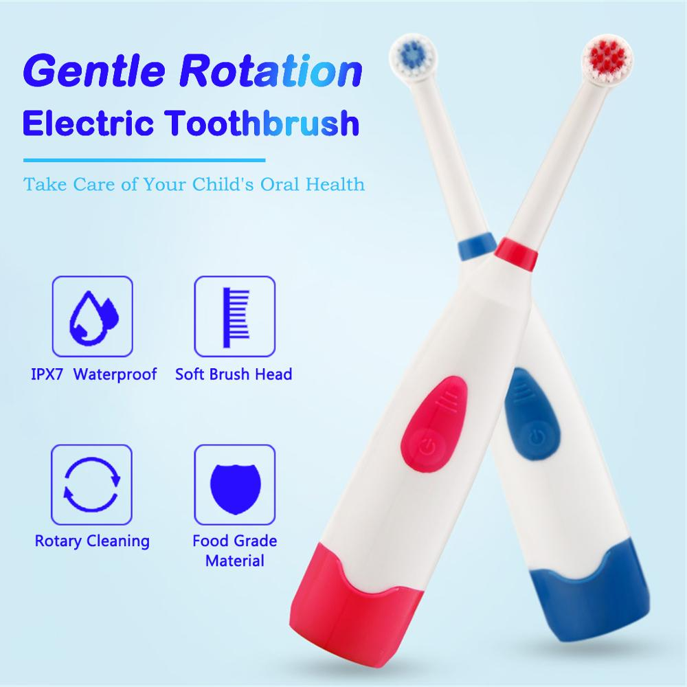 Electric Toothbrush Tooth Brush With 2 Brush Heads Battery Operated Oral Hygiene No Rechargeable Rotation Teeth Brushes For Kids image
