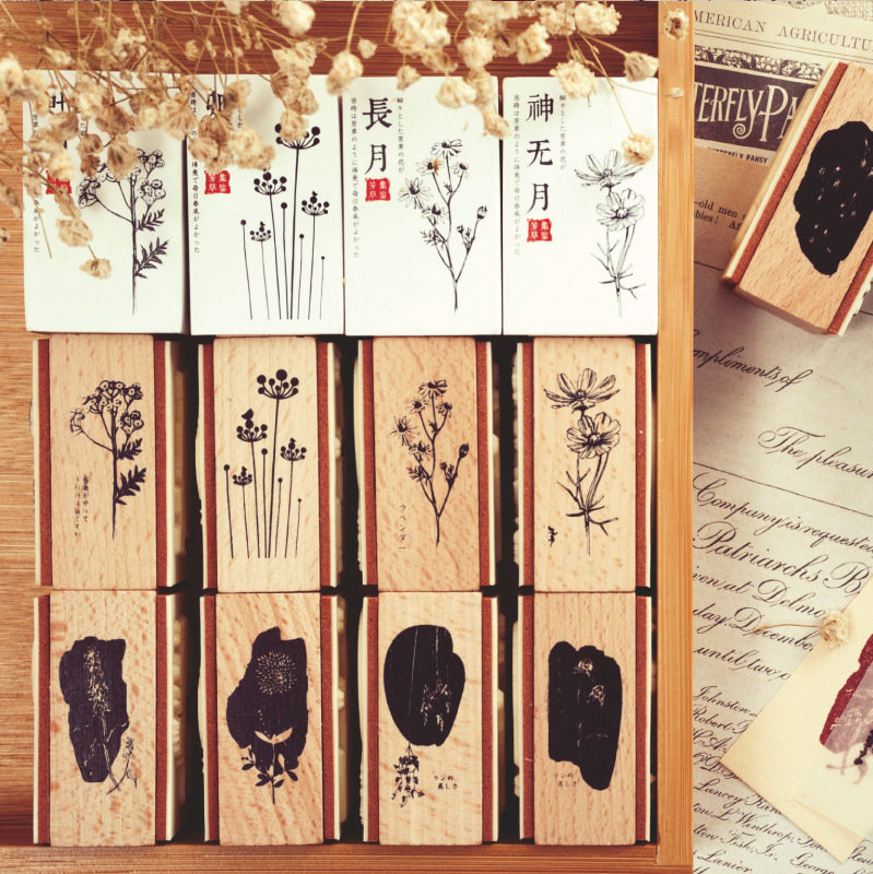 Two-sided Plants Floral Wooden Rubber Stamps For Card Making Scrapbooking And Crafts