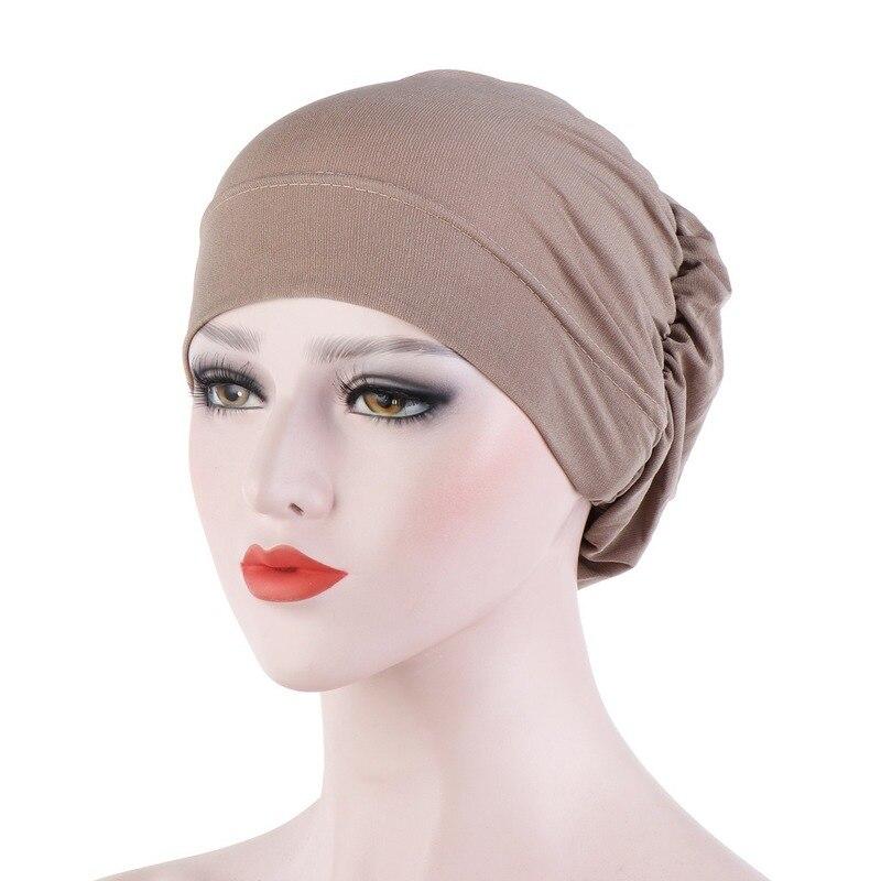 2020 New 16 Colors Solid Cap Spring Elegant Stretch Scarf Hat Chemo Cap Muslim Turban Hijab Headband Fashion Hair Accessories