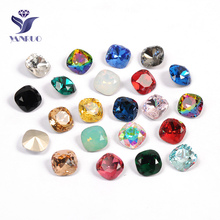 YANRUO 4470 Cushion 10 12 18mm Fancy With Silver Claw Rhinestones Sew On Crystals For Wholesales Dresses Clothes