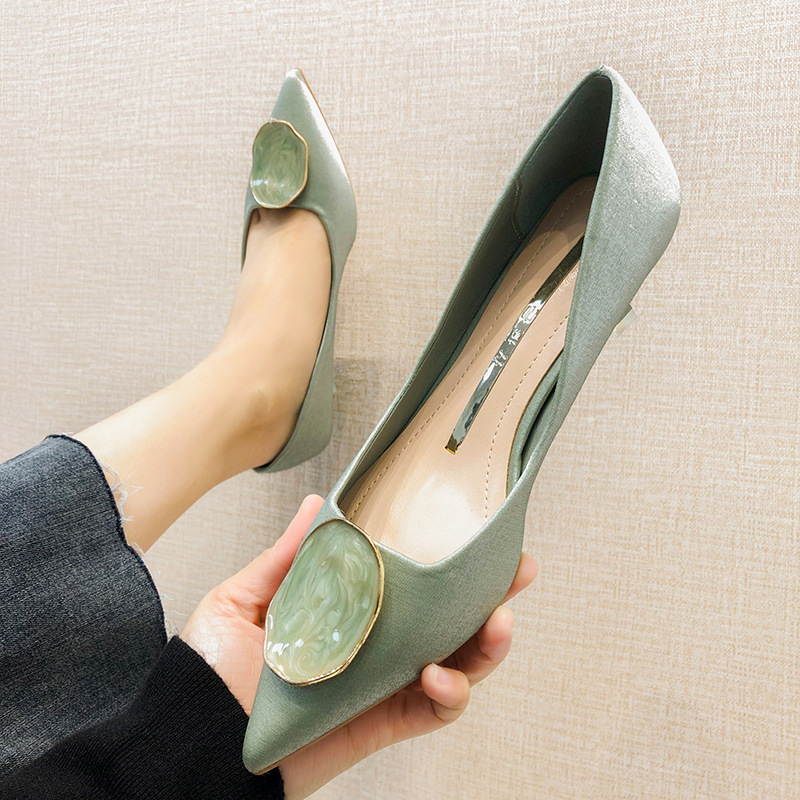 High Heel Shoes Women's 2020 Spring Thin Heeled New Style Versatile Pointed-Toe Fairy-Style Small CK Shoes Women's INS Online Ce