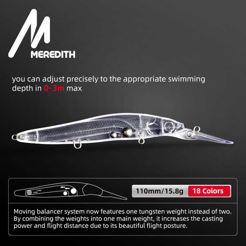 MEREDITH Minnow Wobbler leurres de pêche 110mm appât dur artificiel profondeur 0-3m Jerkbait basse brochet appâts lent coulant ou flottant