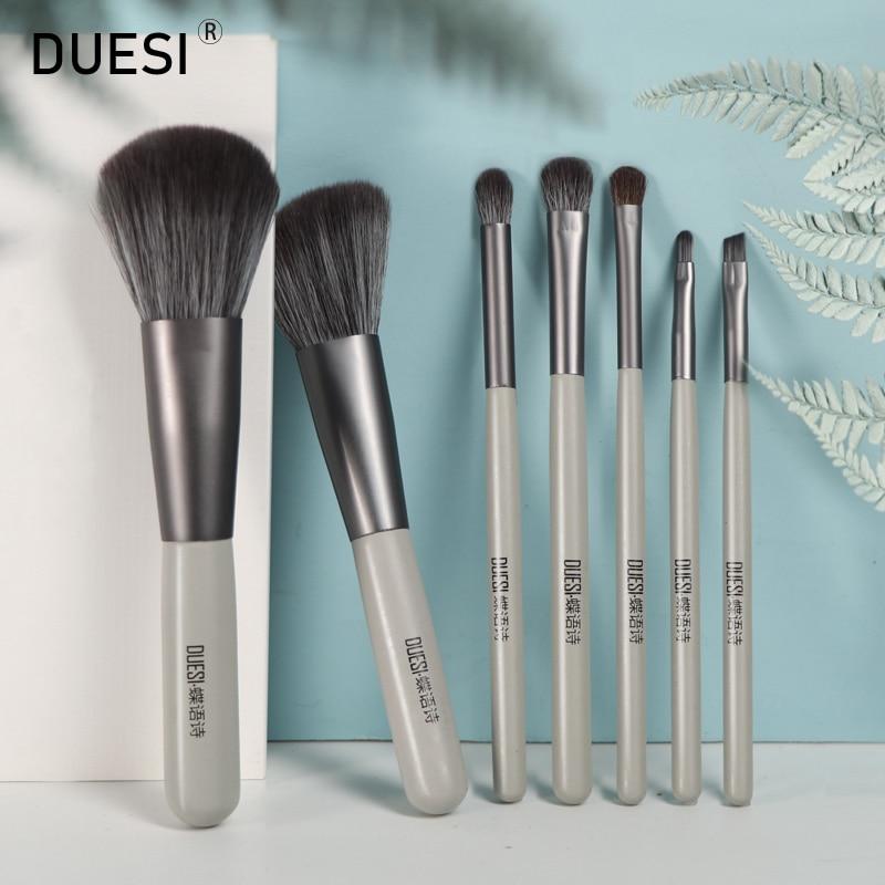 DUESI 7 unids/set brochas maquillaje Set 2020 cara belleza sombra de ojos cejas rubor polvo Fundación cosméticos brochas de maquillaje Kit|rizador de pestañas| - AliExpress