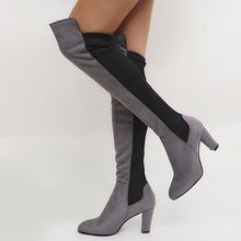 Sexy Over The Knee High Boots Woman Suede Leather Thick High Heels Women Boots Botas De Mujer Autumn Long Boots Plus Size 34-43 цены онлайн