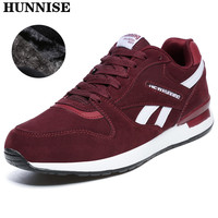 HUNNISE Warm Women Shoes for Men Casual Winter Shoes Women Leather Sneaker Fashion Lace Up Men Sneaker Outdoor Women Loafers
