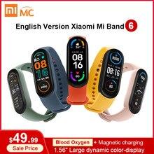 Xiaomi-pulsera inteligente Mi Band 6 versión en inglés, reloj inteligente deportivo con Pantalla AMOLED de 1,56 pulgadas, control del ritmo cardíaco y del oxígeno en sangre, BT 5,0