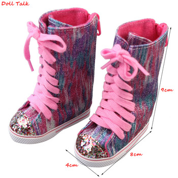 newest brown color doll lace martin boots high quality leather doll shoes 7cm for 18 inch american and 43 new baby dolls toy Pink Sequin  Doll Ankle Boots For 18 inch American Dolls Pu Lace-up High Doll Shoes Wear For 43 cm Reborn Our Generation Dolls